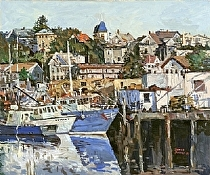 Gloucester Harbor by Dennis Poirier Oil ~ 20 x 24