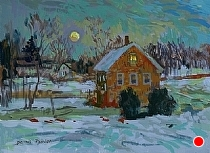 Full Moon over the Village by Dennis Poirier Acrylic ~ 6 x 8
