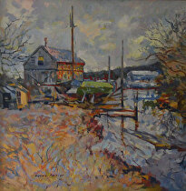 Morning at the Essex Boat Yard by Dennis Poirier Oil ~ 18 x 18