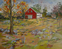 Fall Colors at Segal Farm by Dennis Poirier Oil ~ 8 x 10