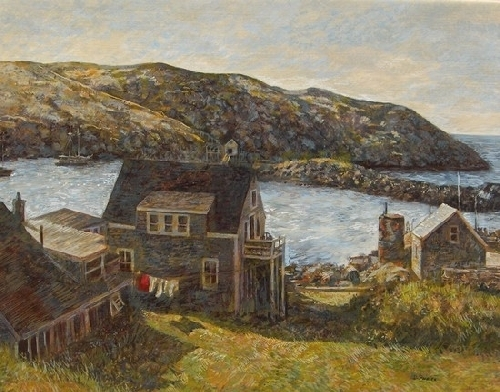 Manana Island from Monhegan by Dennis Poirier Egg Tempera ~ 16 x 20