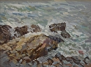 Surf at the Cliff Walk by Dennis Poirier Oil ~ 12 x 16