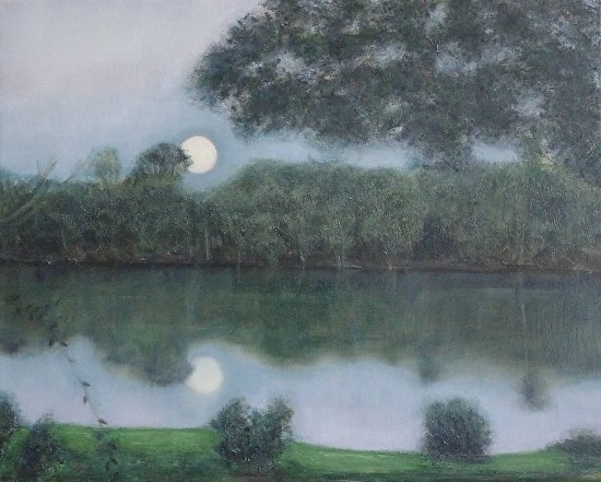 Connecticut River Moonrise - Oil