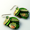 Green Posies Petal Earrings