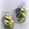 Circle Earrings with Grey Yellow White