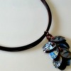 Petal Necklace in Blue and Mahogany with Mahogany Multi-strand Cord
