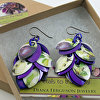 Botanic Themed Petal Earrings in Purple Apples