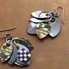 Purple Checkerboard Petal Earrings