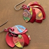 Red Abstract Petal Earrings