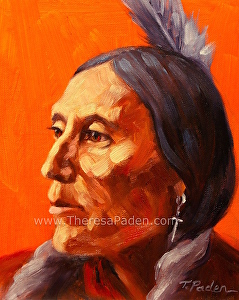 "Native American Study 3 by Theresa Paden Oil ~ 10"" x 8"""