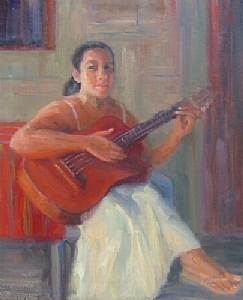 La Guitarrista by Bunny Oliver Oil ~ 20 x 16