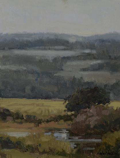 Fields, Pont L'Eveque, Normandy by Carolyn Walton Oil ~ 12 x 9