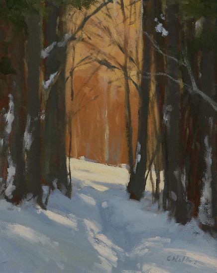 Through the Winter Woods by Carolyn Walton Oil ~ 10 x 8