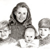 Mother and Children Graphite Portrait