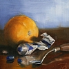"Orange & Blue 1 by Pete Quaid Oil ~ 6"" x 8"""