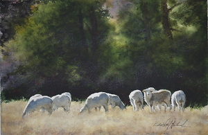 "Sheep At Chalk Creek by Robert McFarland Watercolor ~ 5 1/2"" x 8 1/2"""