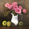 Blush Roses with Green Apples