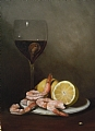 "Shrimp and Red Wine by Christine Marx Oil ~ 14"" x 11"""