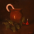 Old Fashioned Christmas - 8 x 8 oil on canvas by Christine Marx Oil ~ 8 inches x 8 inches