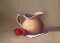 Strawberries and Cream - oil on panel 8 x 10 by Christine Marx Oil ~ 8 inches x 10 inches