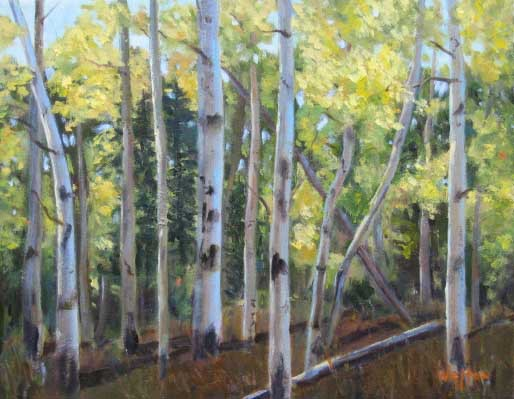 Aspens in Hyde Park - Oil