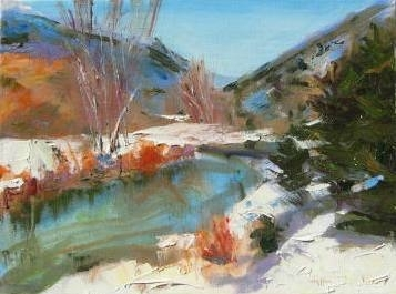 Snow Comes to the San Juan River by Ellen Walton Oil ~ 12 x 16