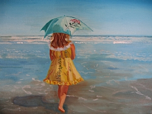 Walking on the Beach by Ellen Walton  ~ 14 x 11