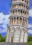 """The Tower Leans!"" by Vince Ornato Jr. Oil ~ 14 x 11"