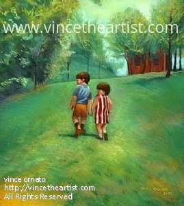 """Bother and Sister"" by Vince Ornato Jr. - Pastel"