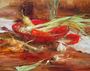 Chile Peppers and Leeks by Laura Robb Oil ~ 16 x 20