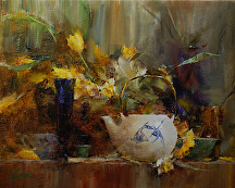 Shelf with Fish Teapot by Laura Robb Oil ~ 9 x 11