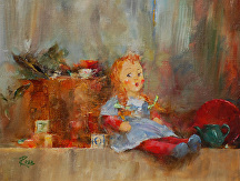 Shelf with Doll by Laura Robb Oil ~ 9 x 12