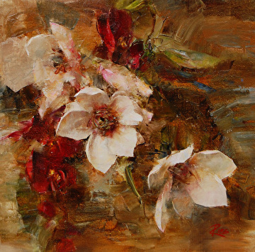 Tree Magnolias and Red Orchids by Laura Robb Oil ~ 12 x 12