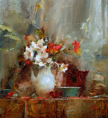 Tulip Magnolias and Poppies by Laura Robb Oil ~ 14 x 13
