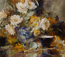 Arrangement in Blues and Yellows by Laura Robb Oil ~ 14 x 16