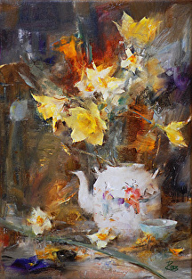 Asian Teapot and Daffodils by Laura Robb Oil ~ 16 x 11