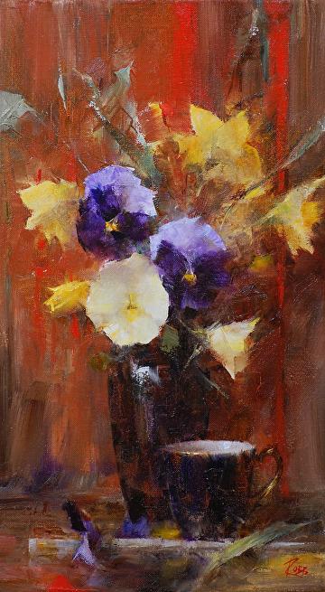 Pansies by Laura Robb Oil ~ 16 x 9