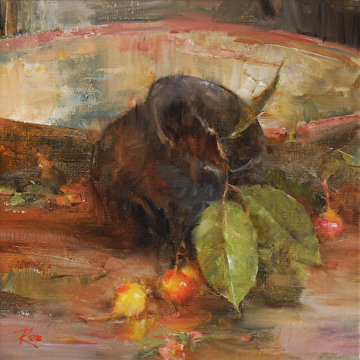 Pottery Jar with Squaw Apples by Laura Robb Oil ~ 12 x 12
