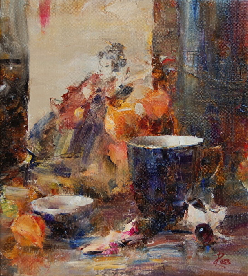 Japanese Print and Teacup by Laura Robb Oil ~ 10 x 9