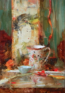 Japanese Teacup and Geisha Print by Laura Robb Oil ~ 14 x 10