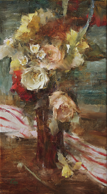 Bouquet with Roses by Laura Robb Oil ~ 18 x 10