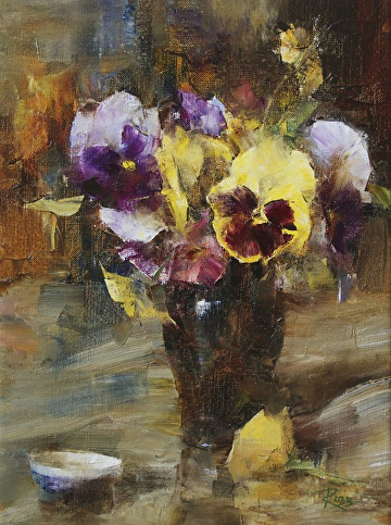 Pansies by Laura Robb Oil ~ 12 x 9