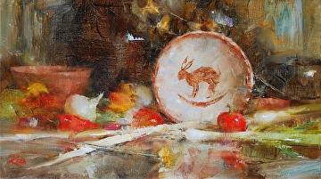 Rabbit Bowl by Laura Robb Oil ~ 8 x 14