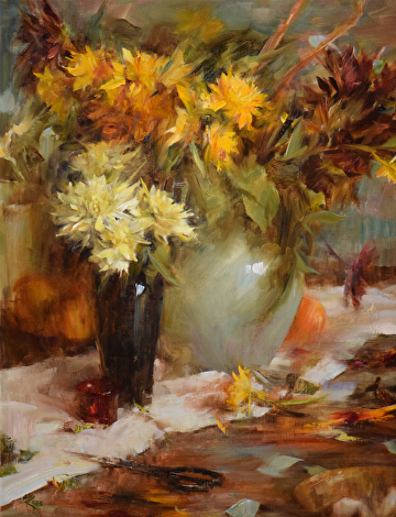 Celadon and Dahlias by Laura Robb  ~ 26 x 20