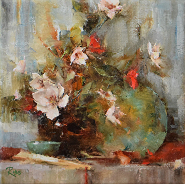 Shelf with Magnolias by Laura Robb Oil ~ 10 x 10