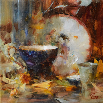 Teacup and Japanese Bowl by Laura Robb Oil ~ 10 x 10