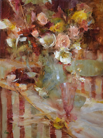 Bouquet in Celadon Pitcher by Laura Robb Oil ~ 24 x 18