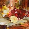 Pansies and Red Teacup