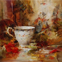 Teacup and Japanese Print by Laura Robb Oil ~ 10 x 10