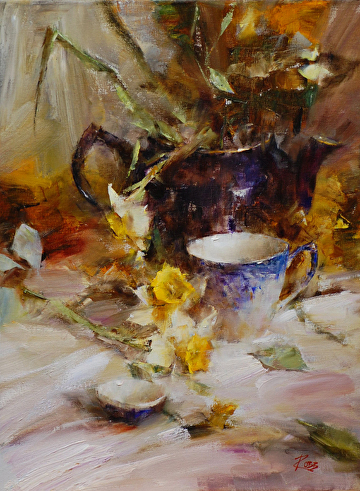 Blue Teapot with Daffodils by Laura Robb Oil ~ 16 x 12